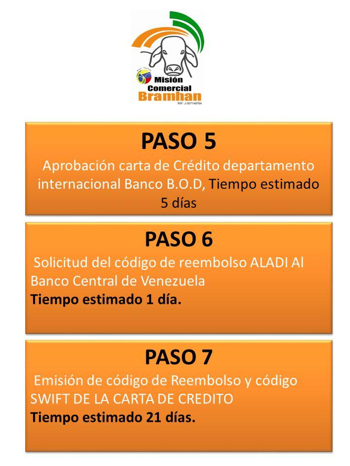 PASO 6 Solicitud del código de reembolso ALADI Al Banco Central de Venezuela Tiempo estimado 1 día. PASO 6 Solicitud del código de reembolso ALADI Al