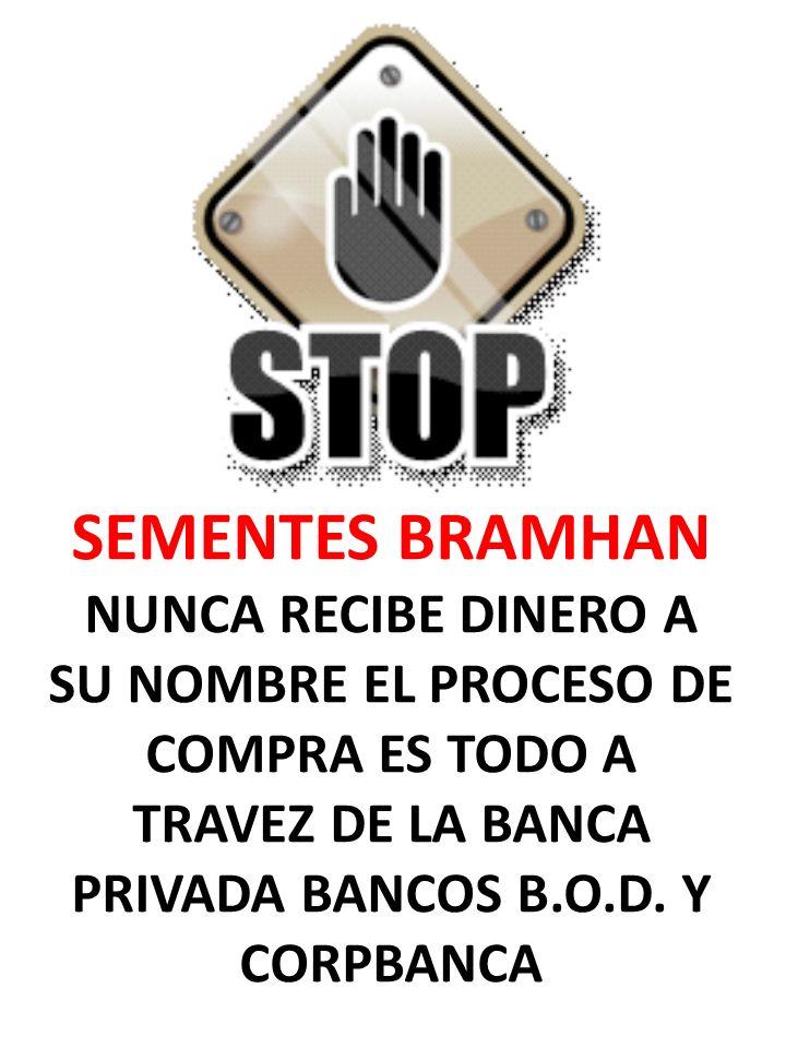 SEMENTES BRAMHAN NUNCA RECIBE DINERO A SU NOMBRE EL PROCESO DE COMPRA ES TODO A TRAVEZ DE LA BANCA PRIVADA BANCOS B.O.D. Y CORPBANCA