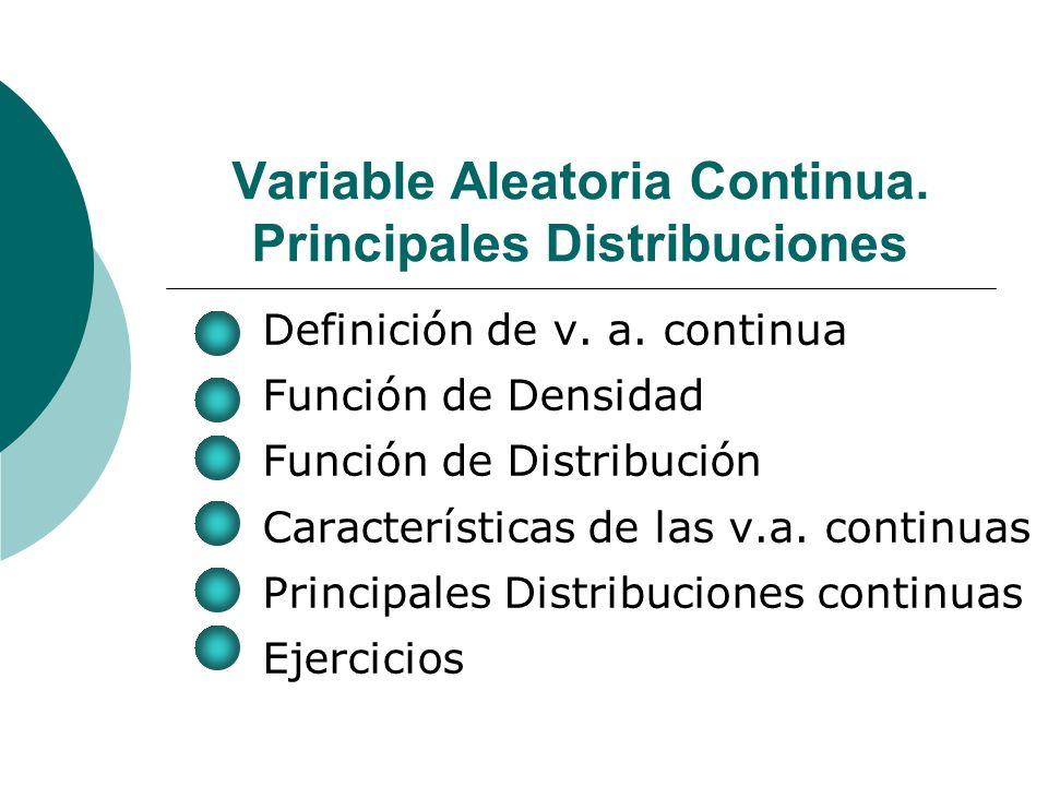 Variable Aleatoria Continua.Principales Distribuciones Definición de v.