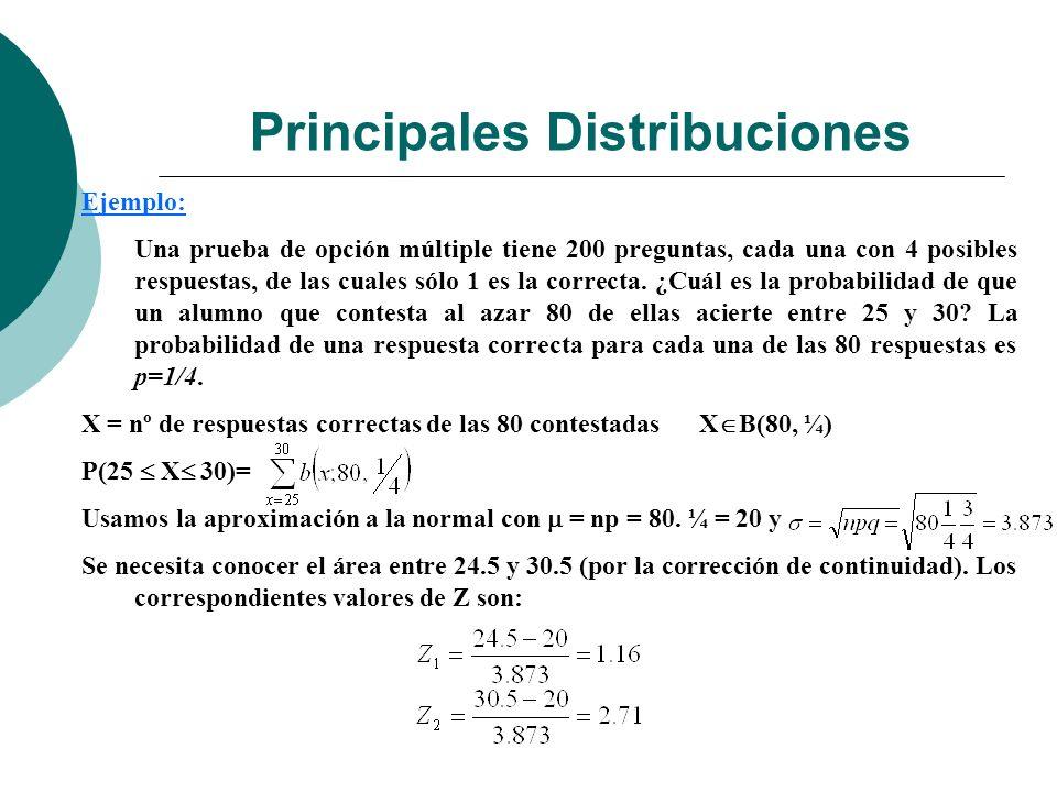 Principales Distribuciones Ejemplo: Una prueba de opción múltiple tiene 200 preguntas, cada una con 4 posibles respuestas, de las cuales sólo 1 es la correcta.