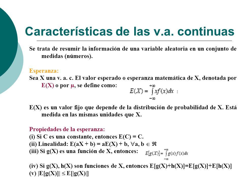 Características de las v.a.continuas Varianza: Sea X una v.