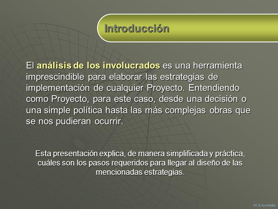 El análisis de los involucrados es una herramienta imprescindible para elaborar las estrategias de implementación de cualquier Proyecto. Entendiendo c