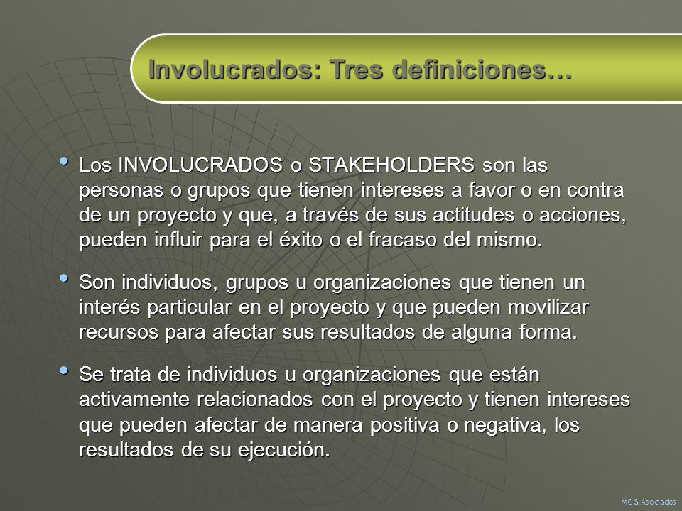Los INVOLUCRADOS o STAKEHOLDERS son las personas o grupos que tienen intereses a favor o en contra de un proyecto y que, a través de sus actitudes o a