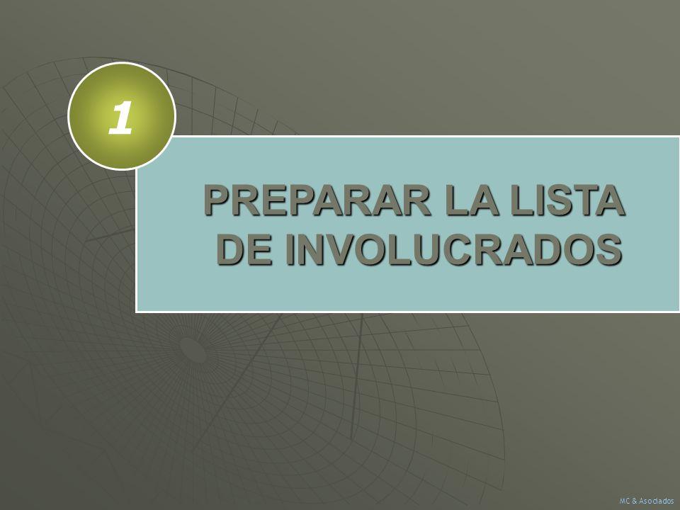 PREPARAR LA LISTA DE INVOLUCRADOS 1 MC & Asociados