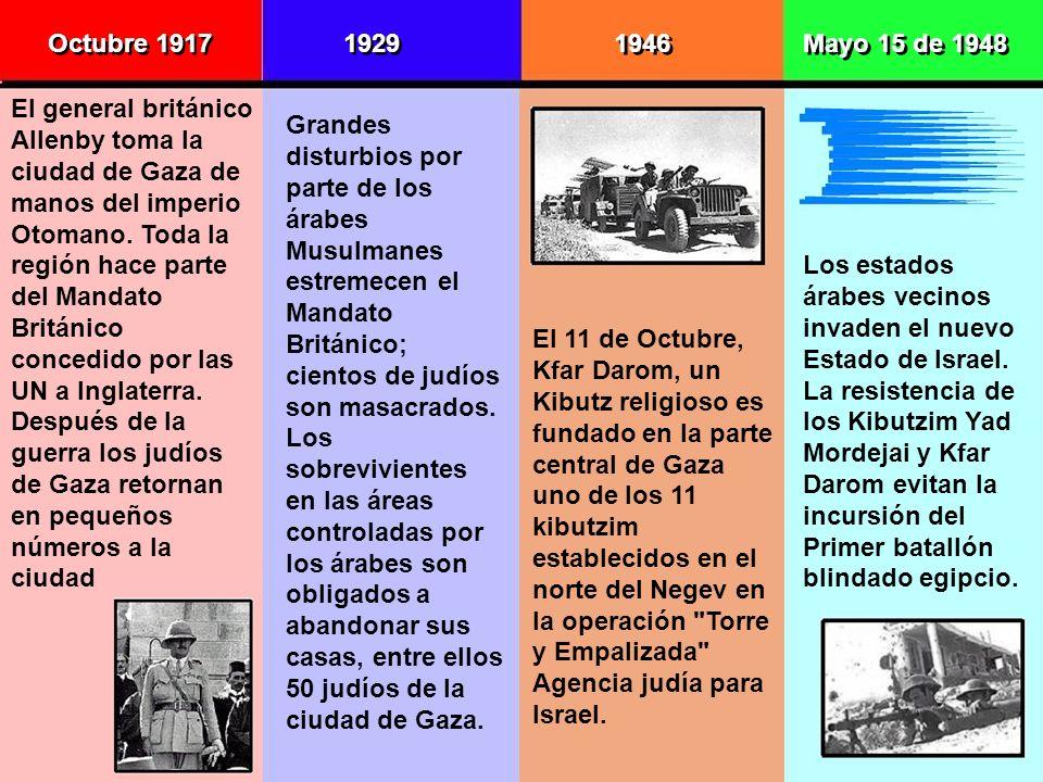 Octubre 1917 El general británico Allenby toma la ciudad de Gaza de manos del imperio Otomano. Toda la región hace parte del Mandato Británico concedi