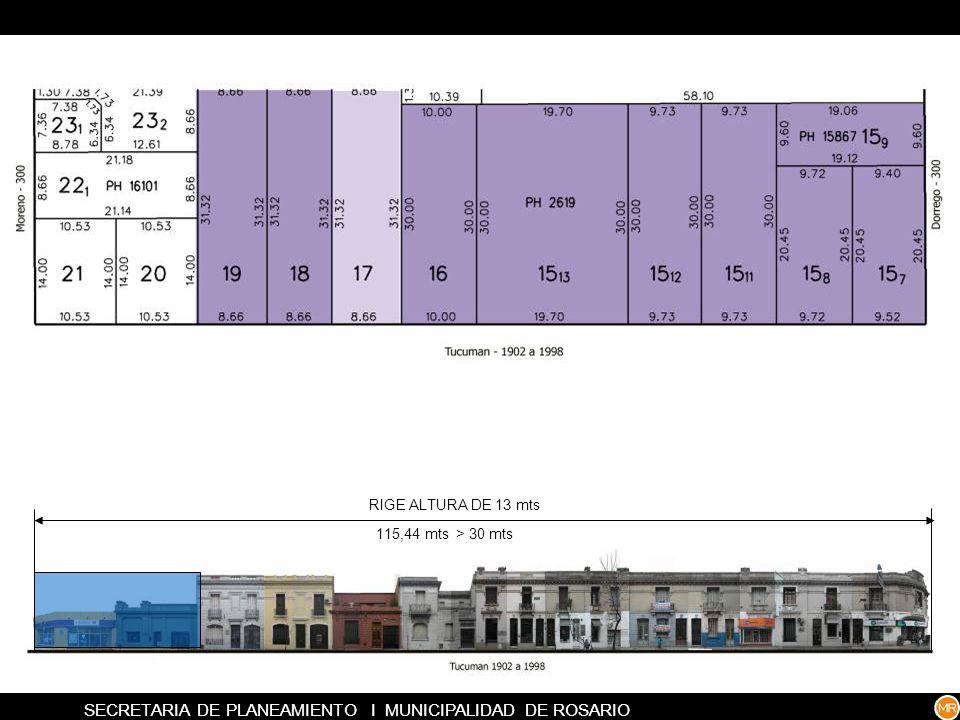 RIGE ALTURA DE 13 mts 8,56 mts < 30 mtsRIGE ALTURA DEL LINDERO MAS BAJO 100,73 mts > 30 mts SECRETARIA DE PLANEAMIENTO I MUNICIPALIDAD DE ROSARIO