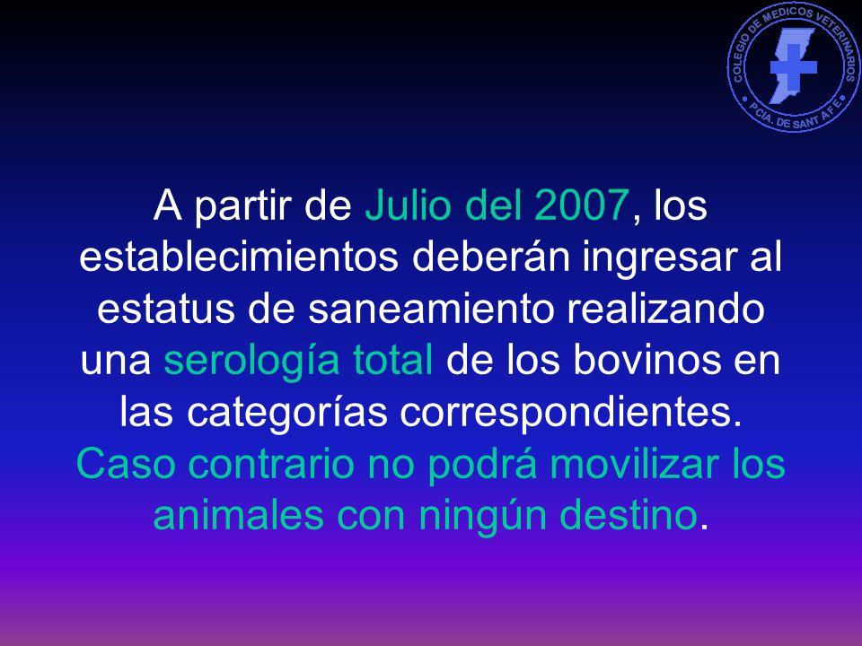 El status de Libre se logra con dos serología negativas a la totalidad de los bovinos (hembras mayores de 18 meses y machos enteros mayores de 6 meses) con un intervalo máximo de 14 meses entre ambas.