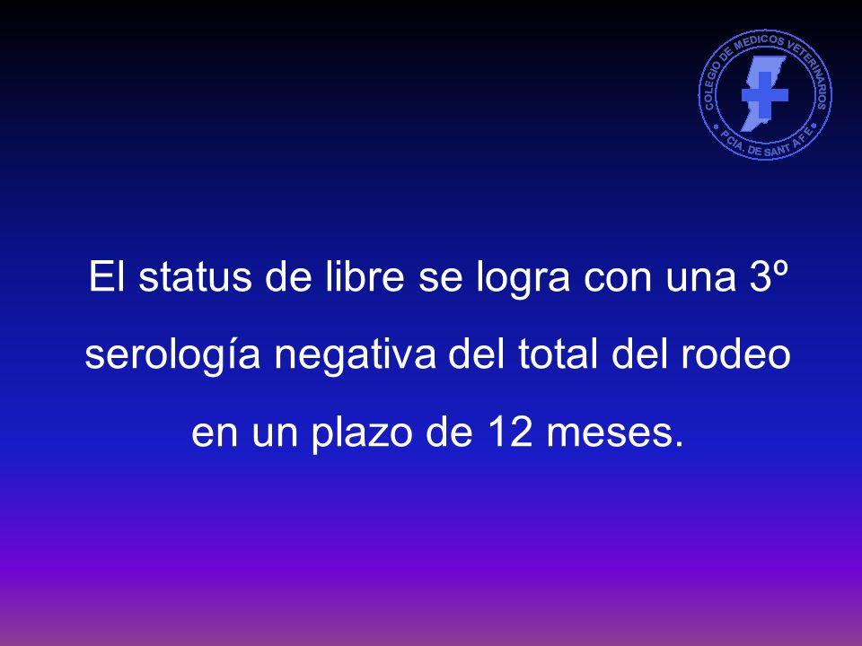 A partir del 1º de enero de 2006, para realizar movimientos los establecimientos deberán estar con el status de saneado (2 serología negativas con un