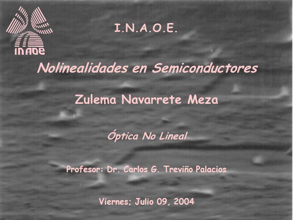 I.N.A.O.E.Nolinealidades en Semiconductores Zulema Navarrete Meza Óptica No Lineal Profesor: Dr.