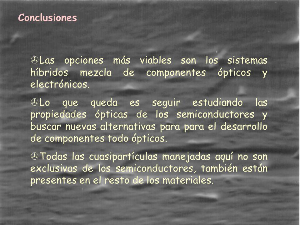 Conclusiones >Las opciones más viables son los sistemas híbridos mezcla de componentes ópticos y electrónicos.