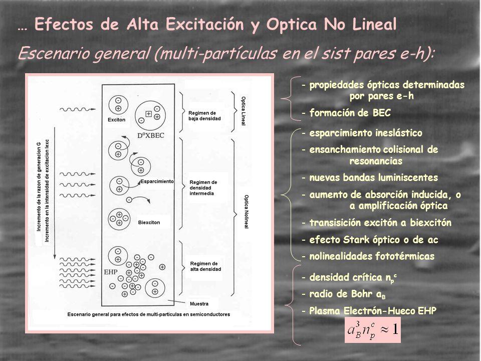… Efectos de Alta Excitación y Optica No Lineal Escenario general (multi-partículas en el sist pares e-h): - esparcimiento ineslástico - ensanchamiento colisional de resonancias - nuevas bandas luminiscentes - aumento de absorción inducida, o a amplificación óptica - transisición excitón a biexcitón - efecto Stark óptico o de ac - nolinealidades fototérmicas - densidad crítica n p c - radio de Bohr a B - Plasma Electrón-Hueco EHP - propiedades ópticas determinadas por pares e-h - formación de BEC