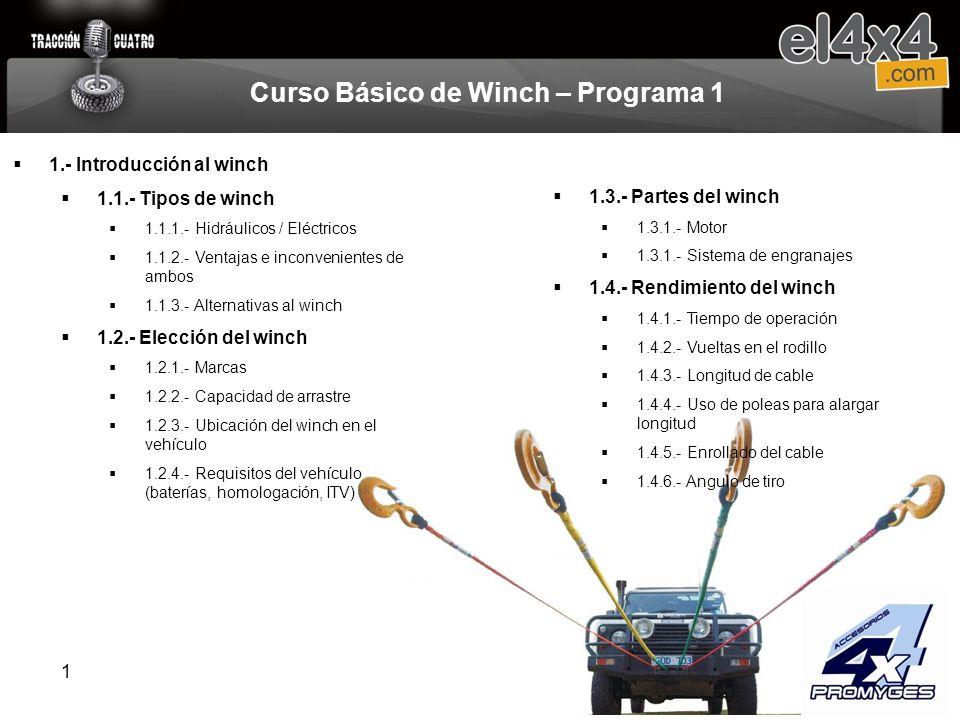 1 1.3.- Partes del winch 1.3.1.- Motor 1.3.1.- Sistema de engranajes 1.4.- Rendimiento del winch 1.4.1.- Tiempo de operación 1.4.2.- Vueltas en el rod