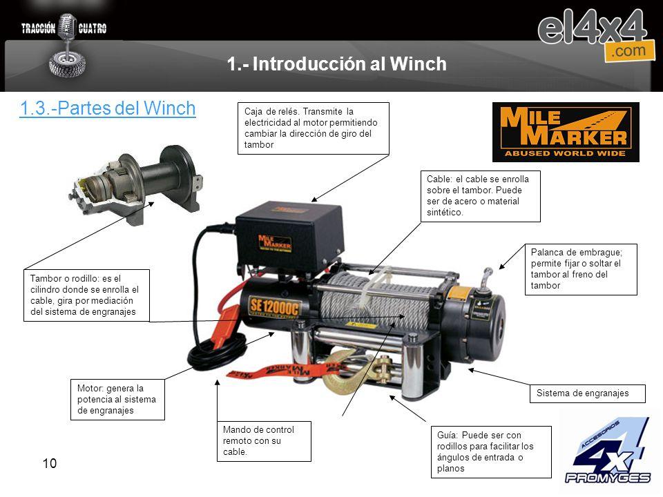 10 1.- Introducción al Winch Caja de relés. Transmite la electricidad al motor permitiendo cambiar la dirección de giro del tambor Motor: genera la po