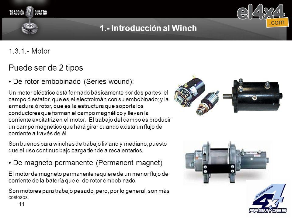 11 1.- Introducción al Winch Puede ser de 2 tipos De rotor embobinado (Series wound): Un motor eléctrico está formado básicamente por dos partes: el c