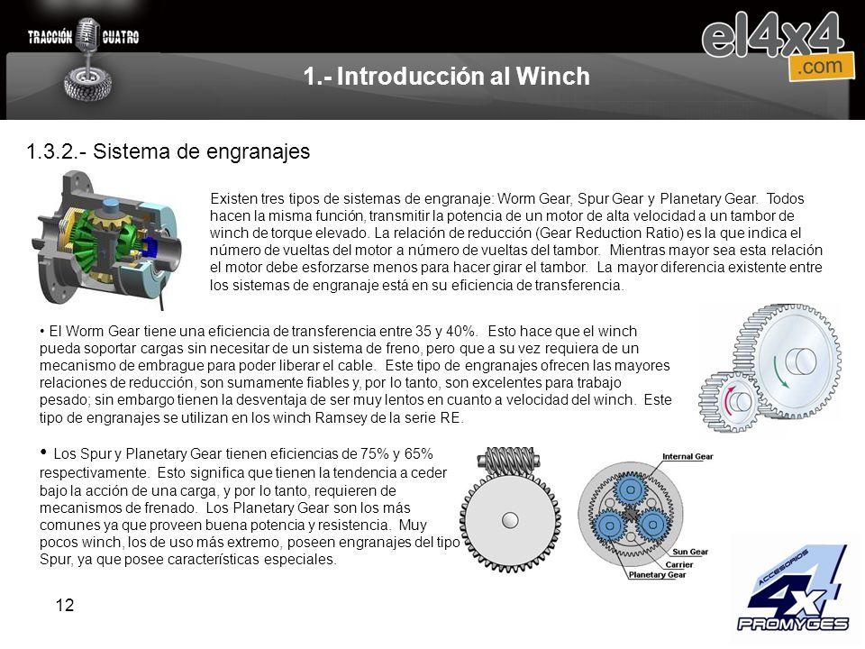 12 1.- Introducción al Winch Existen tres tipos de sistemas de engranaje: Worm Gear, Spur Gear y Planetary Gear. Todos hacen la misma función, transmi