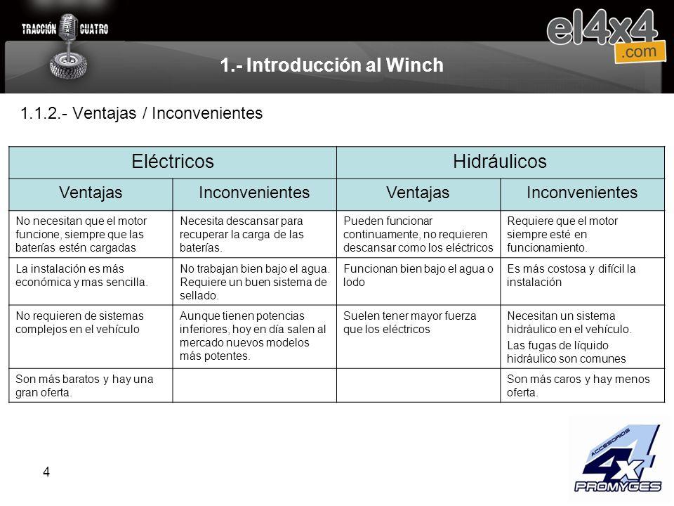 4 1.- Introducción al Winch EléctricosHidráulicos VentajasInconvenientesVentajasInconvenientes No necesitan que el motor funcione, siempre que las bat