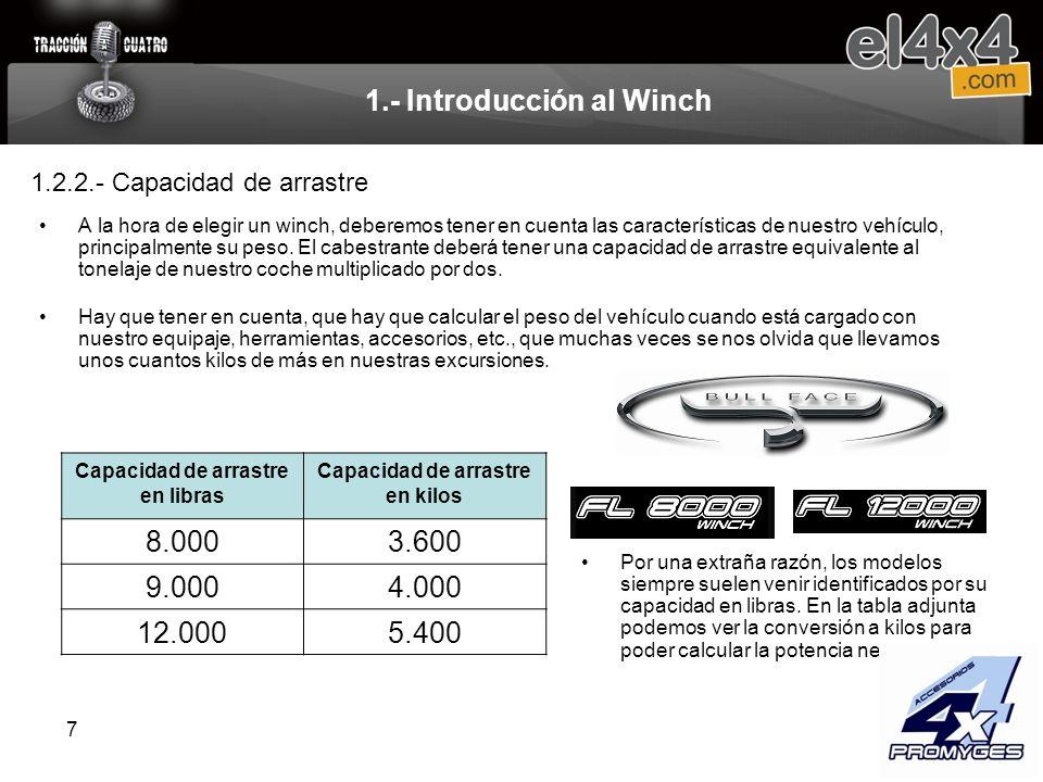 7 1.- Introducción al Winch A la hora de elegir un winch, deberemos tener en cuenta las características de nuestro vehículo, principalmente su peso. E