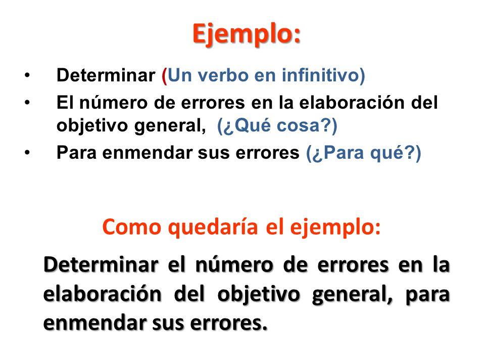 Ejemplo: Determinar (Un verbo en infinitivo) El número de errores en la elaboración del objetivo general, (¿Qué cosa?) Para enmendar sus errores (¿Para qué?) Determinar el número de errores en la elaboración del objetivo general, para enmendar sus errores.