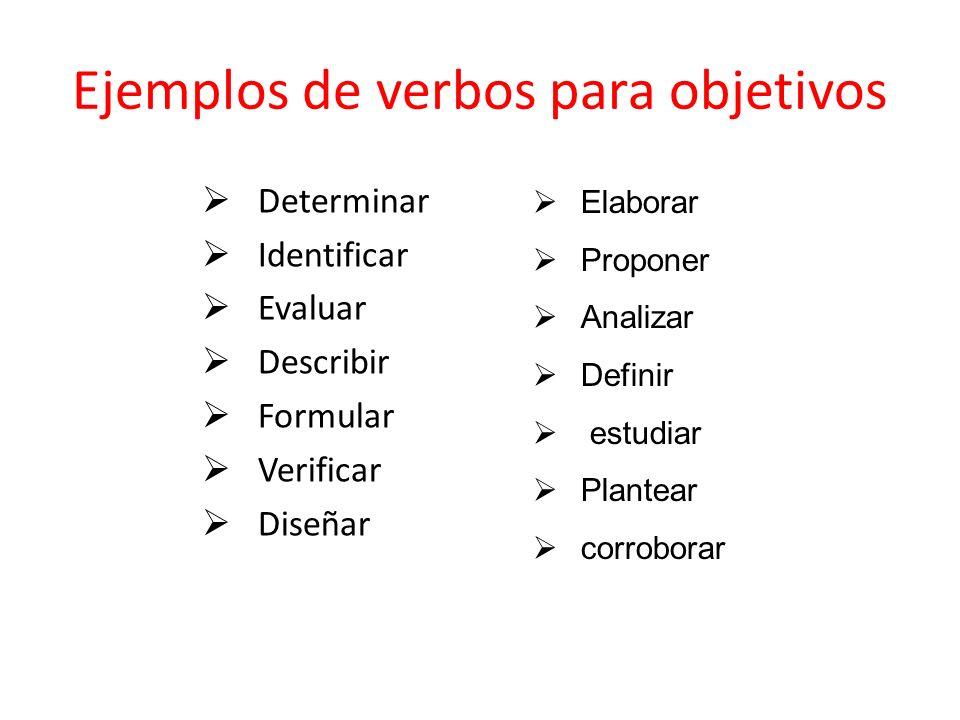 Ejemplos de verbos para objetivos Determinar Identificar Evaluar Describir Formular Verificar Diseñar Elaborar Proponer Analizar Definir estudiar Plantear corroborar