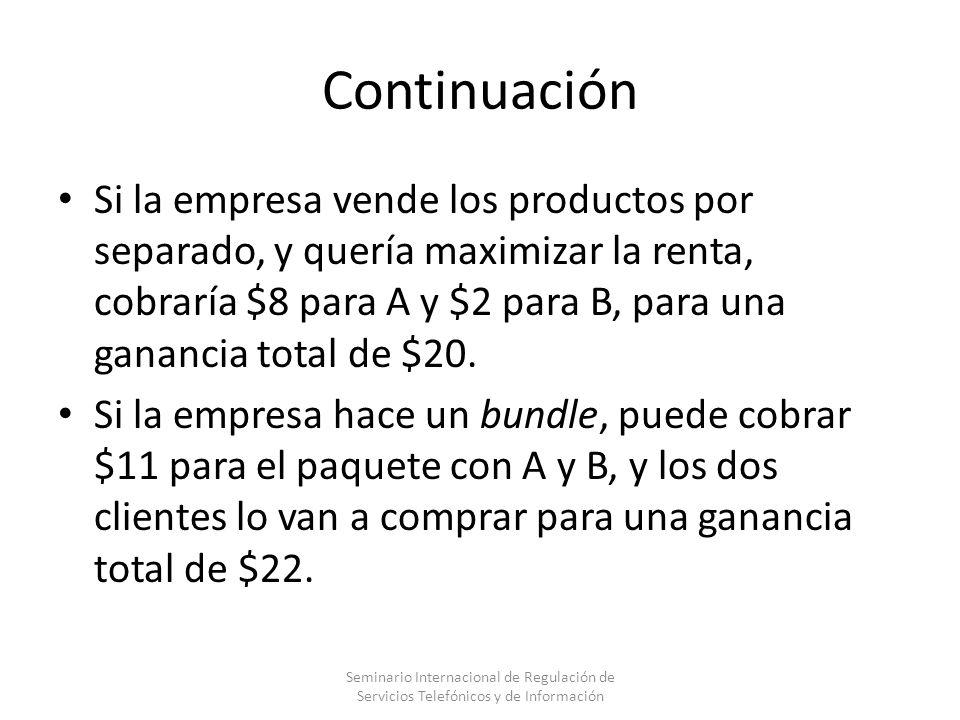 Continuación Si la empresa vende los productos por separado, y quería maximizar la renta, cobraría $8 para A y $2 para B, para una ganancia total de $