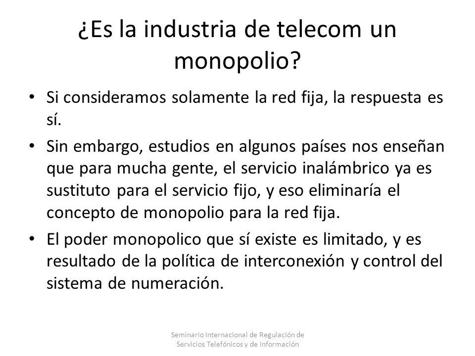 Tarifas de interconexión y poder monopólico Cada empresa telefónica es un monopolio para terminar el tráfico.