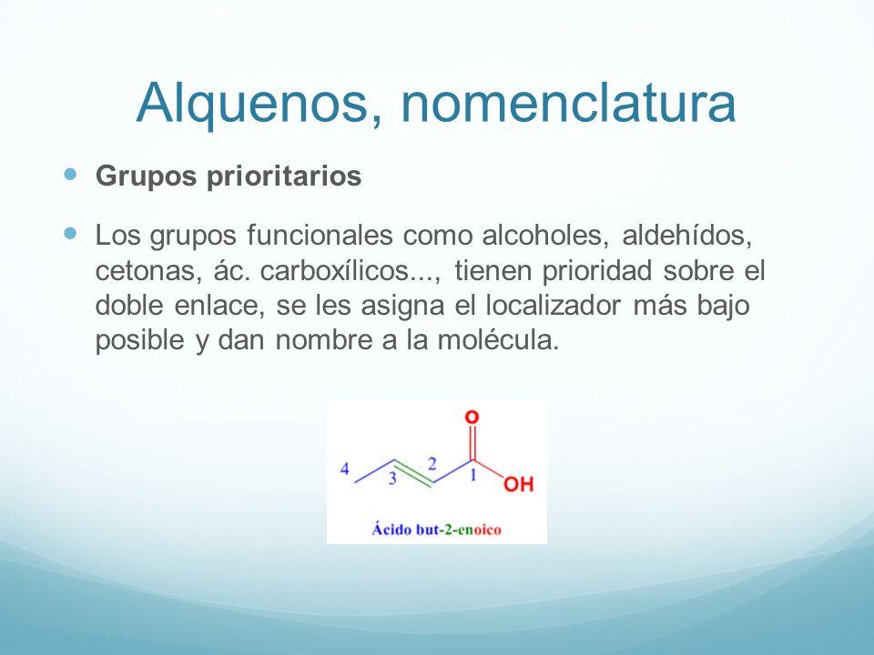 Alquenos, nomenclatura Grupos prioritarios Los grupos funcionales como alcoholes, aldehídos, cetonas, ác. carboxílicos..., tienen prioridad sobre el d