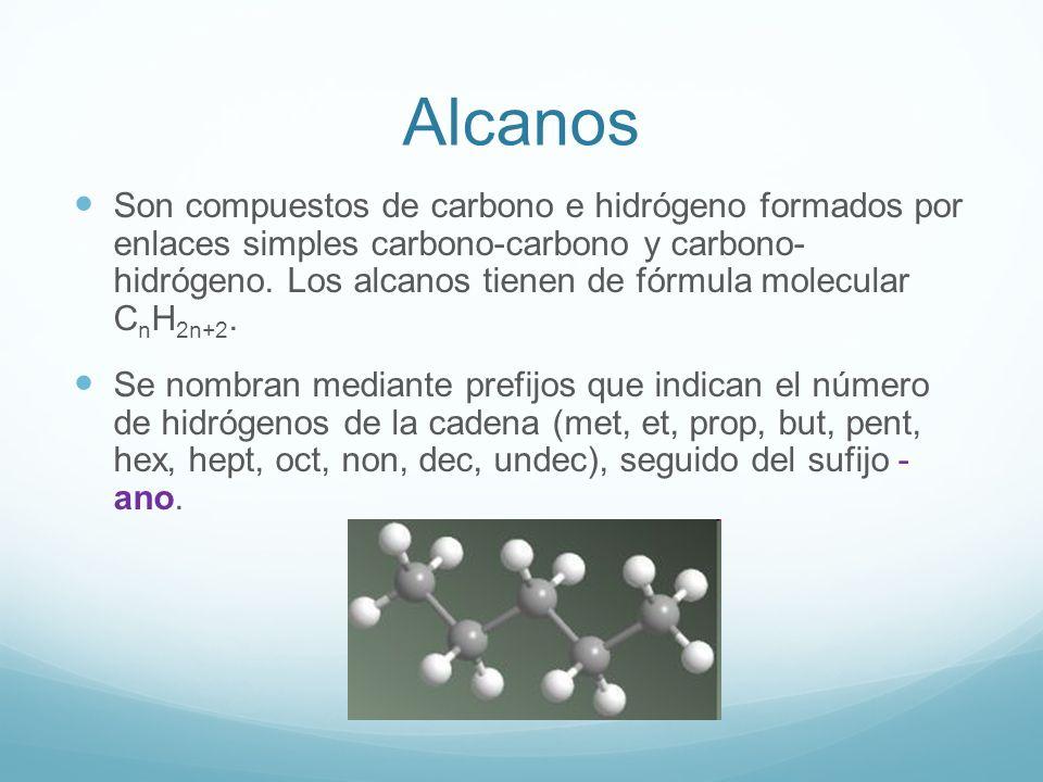 Alcanos Son compuestos de carbono e hidrógeno formados por enlaces simples carbono-carbono y carbono- hidrógeno. Los alcanos tienen de fórmula molecul