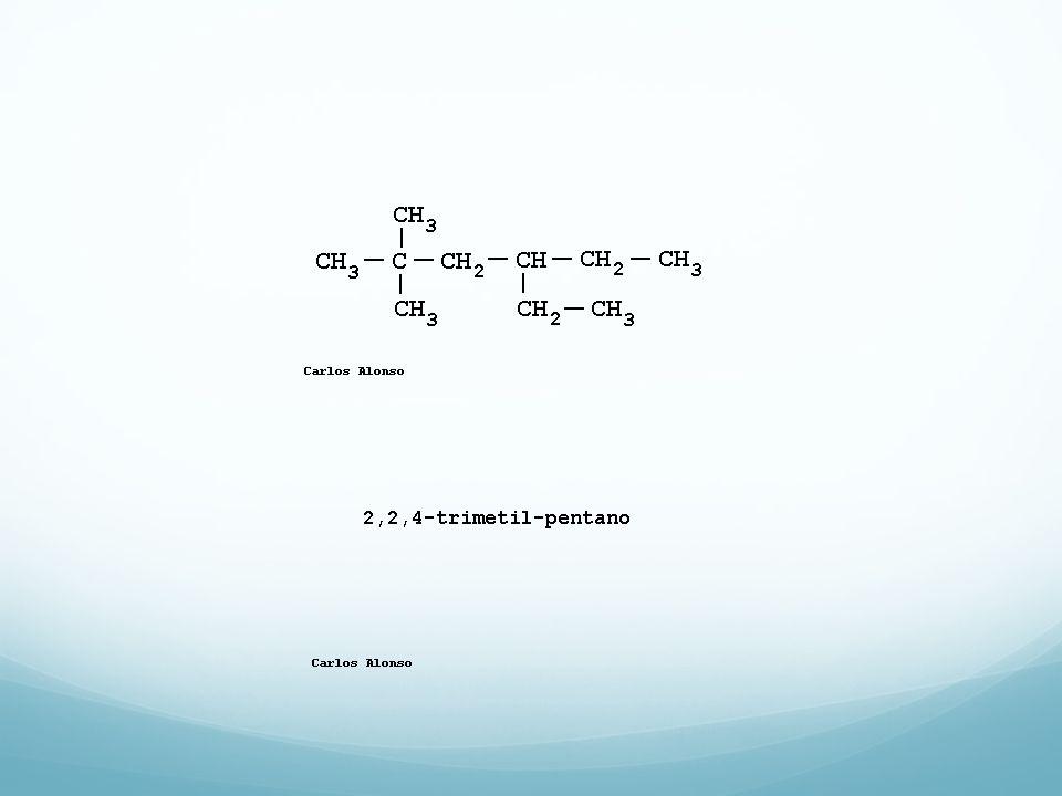 Alcanos, nomenclatura 2,4 Dimetilpentano La cadena de mayor longitud tiene 10 carbonos, con dos sustituyentes en posiciones 4 y 8.
