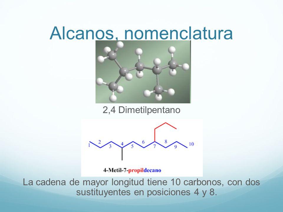 Alcanos, nomenclatura En esta molécula la elección de la cadena principal puede inducir a error, puesto que la cadena horizontal solo conduce a 8 carbonos, mientras que la cadena dibujada en azul tiene 9 carbonos.