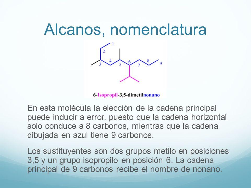Alcanos, nomenclatura En esta molécula la elección de la cadena principal puede inducir a error, puesto que la cadena horizontal solo conduce a 8 carb