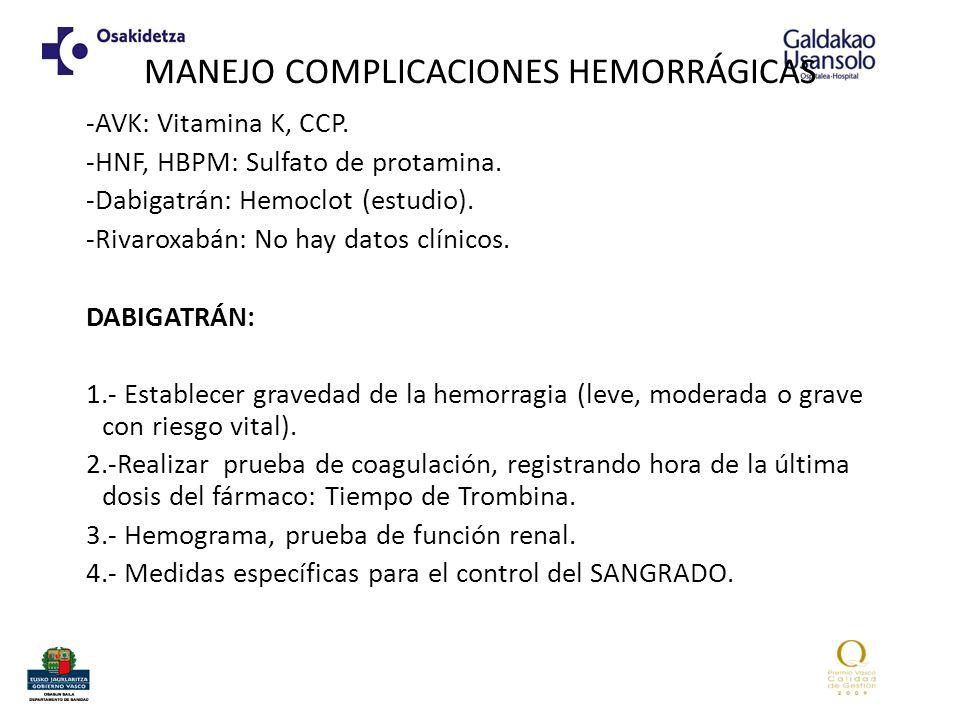 MANEJO COMPLICACIONES HEMORRÁGICAS -AVK: Vitamina K, CCP. -HNF, HBPM: Sulfato de protamina. -Dabigatrán: Hemoclot (estudio). -Rivaroxabán: No hay dato