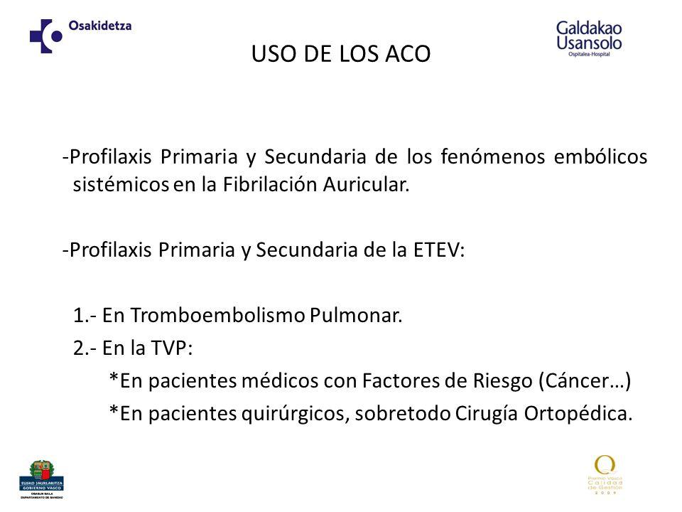 USO DE LOS ACO -Profilaxis Primaria y Secundaria de los fenómenos embólicos sistémicos en la Fibrilación Auricular. -Profilaxis Primaria y Secundaria