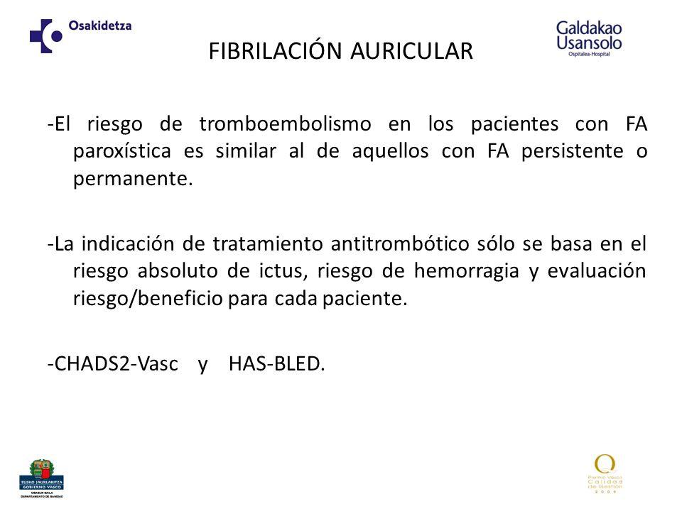 FIBRILACIÓN AURICULAR -El riesgo de tromboembolismo en los pacientes con FA paroxística es similar al de aquellos con FA persistente o permanente. -La