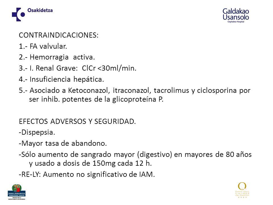 CONTRAINDICACIONES: 1.- FA valvular. 2.- Hemorragia activa. 3.- I. Renal Grave: ClCr <30ml/min. 4.- Insuficiencia hepática. 5.- Asociado a Ketoconazol