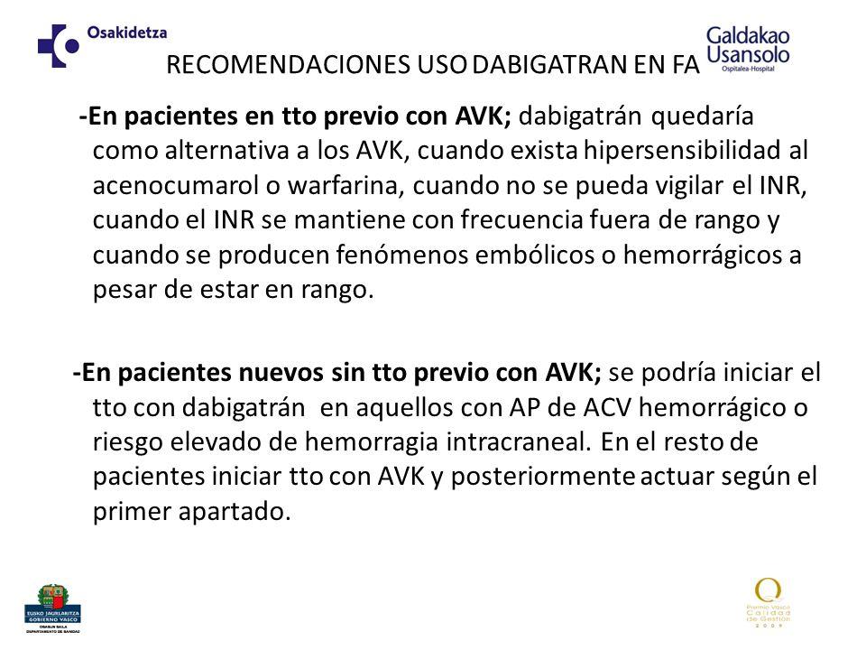 RECOMENDACIONES USO DABIGATRAN EN FA -En pacientes en tto previo con AVK; dabigatrán quedaría como alternativa a los AVK, cuando exista hipersensibilidad al acenocumarol o warfarina, cuando no se pueda vigilar el INR, cuando el INR se mantiene con frecuencia fuera de rango y cuando se producen fenómenos embólicos o hemorrágicos a pesar de estar en rango.