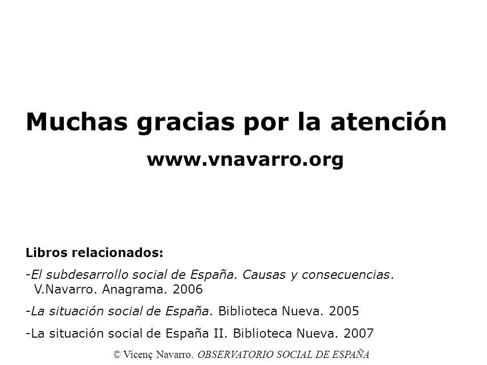 Muchas gracias por la atención www.vnavarro.org Libros relacionados: -El subdesarrollo social de España. Causas y consecuencias. V.Navarro. Anagrama.