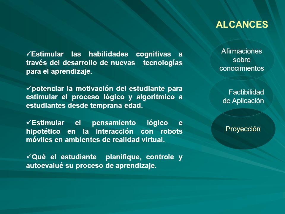 Proyección Factibilidad de Aplicación Afirmaciones sobre conocimientos ALCANCES Estimular las habilidades cognitivas a través del desarrollo de nuevas