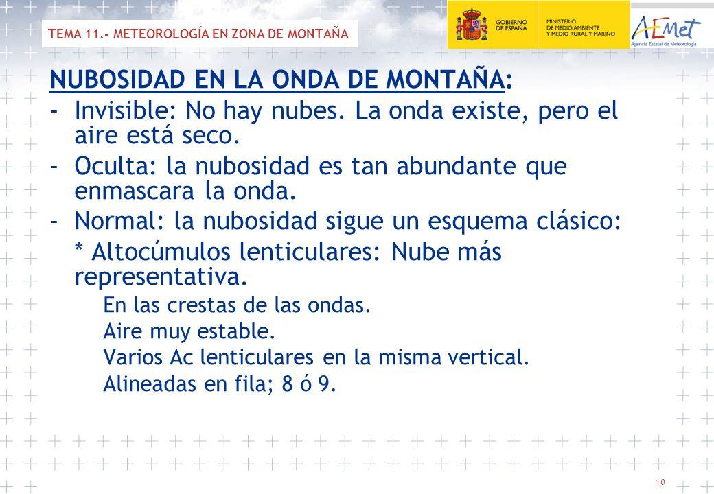10 NUBOSIDAD EN LA ONDA DE MONTAÑA: -Invisible: No hay nubes. La onda existe, pero el aire está seco. -Oculta: la nubosidad es tan abundante que enmas