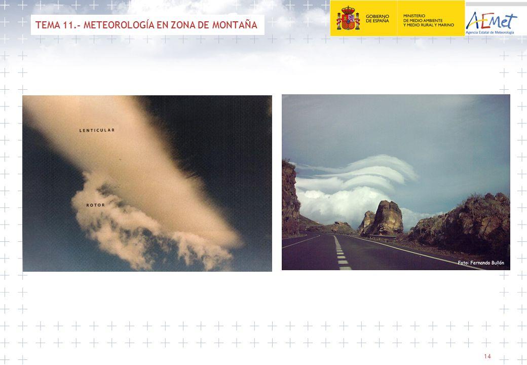 14 TEMA 11.- METEOROLOGÍA EN ZONA DE MONTAÑA