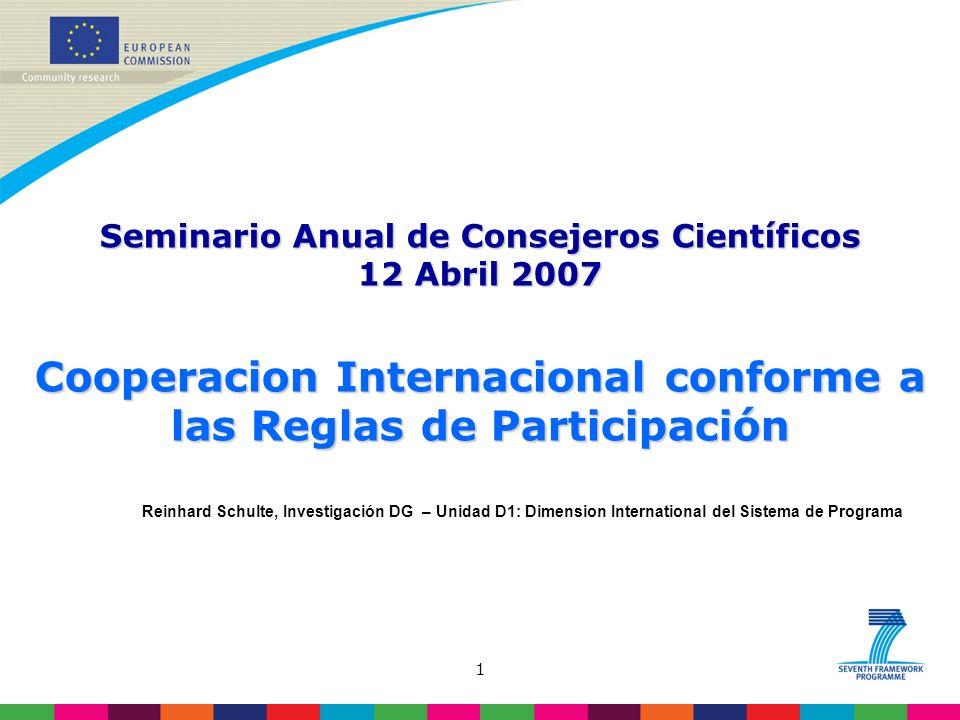 1 Reinhard Schulte, Investigación DG – Unidad D1: Dimension International del Sistema de Programa Seminario Anual de Consejeros Científicos 12 Abril 2007 Cooperacion Internacional conforme a las Reglas de Participación