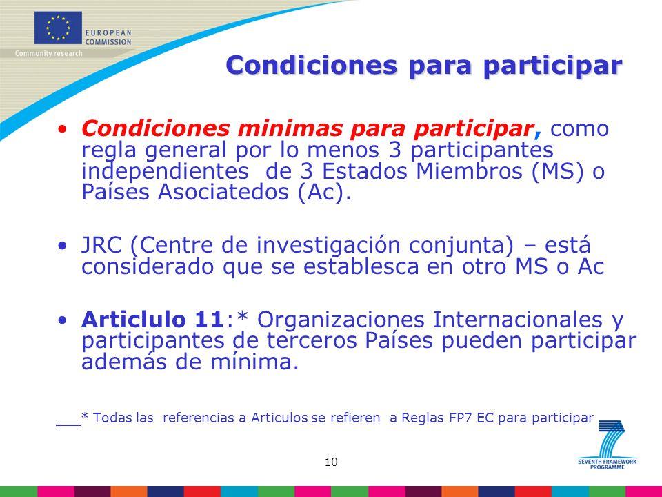 10 Condiciones para participar Condiciones minimas para participar, como regla general por lo menos 3 participantes independientes de 3 Estados Miembros (MS) o Países Asociatedos (Ac).