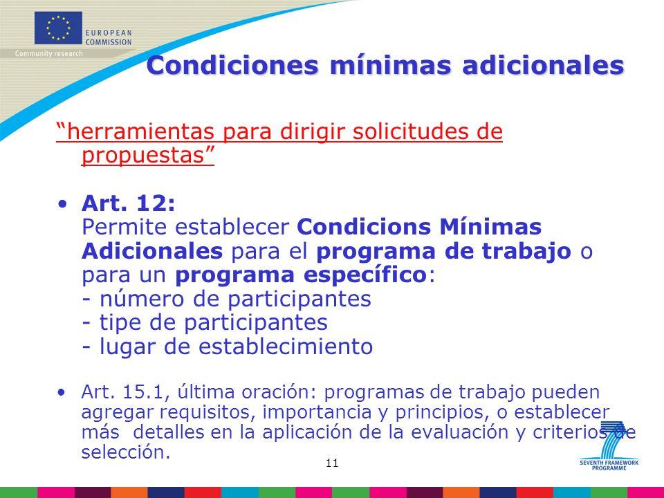 11 Condiciones mínimas adicionales herramientas para dirigir solicitudes de propuestas Art.
