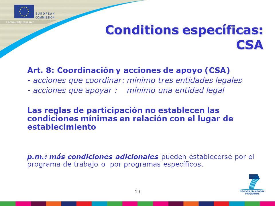 13 Conditions específicas: CSA Art.