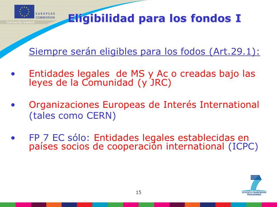 15 Eligibilidad para los fondos I Siempre serán eligibles para los fodos (Art.29.1): Entidades legales de MS y Ac o creadas bajo las leyes de la Comunidad (y JRC) Organizaciones Europeas de Interés International (tales como CERN) FP 7 EC sólo: Entidades legales establecidas en países socios de cooperación international (ICPC)