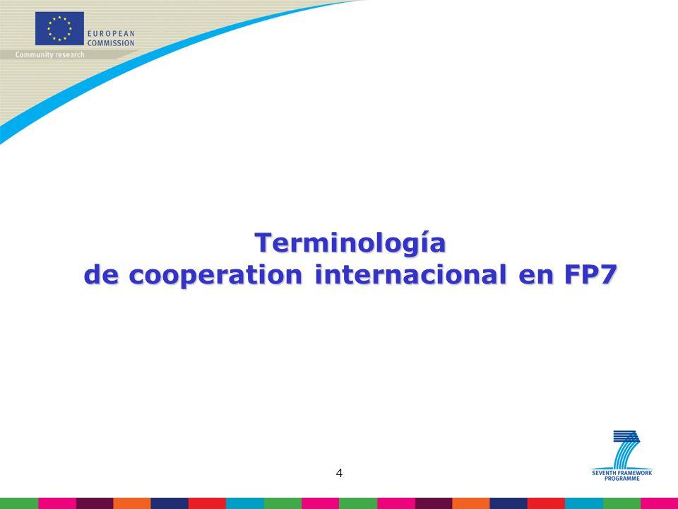4 Terminología de cooperation internacional en FP7