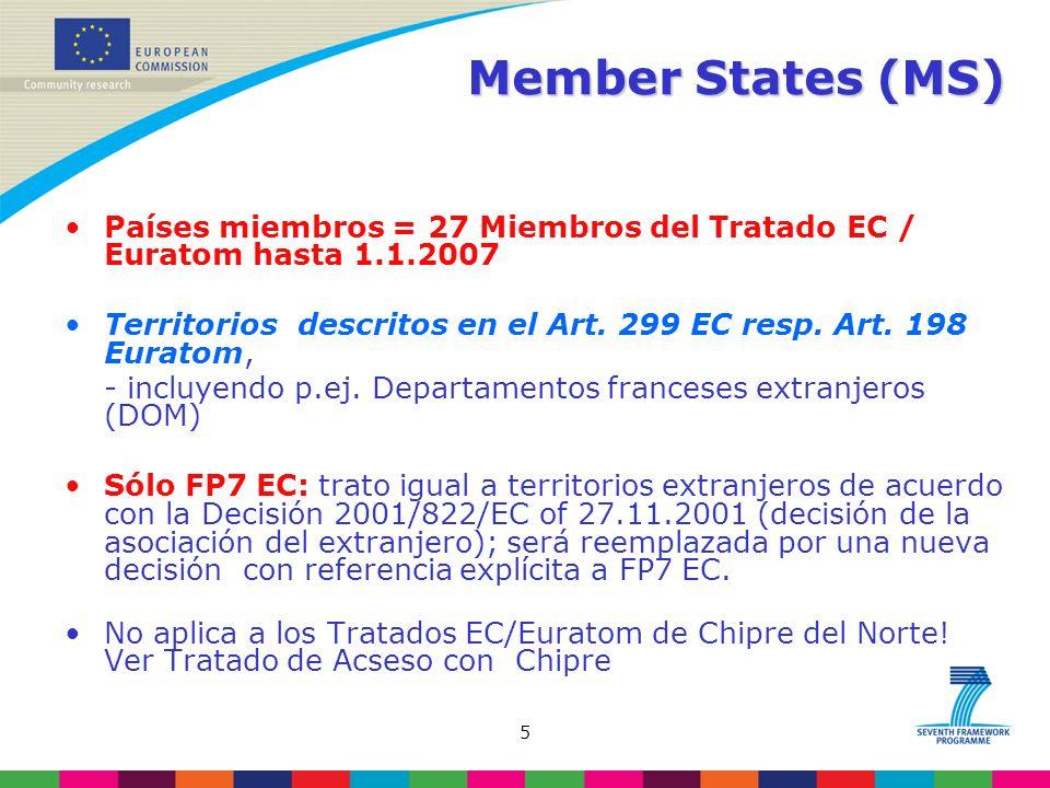 5 Member States (MS) Países miembros = 27 Miembros del Tratado EC / Euratom hasta 1.1.2007 Territorios descritos en el Art.