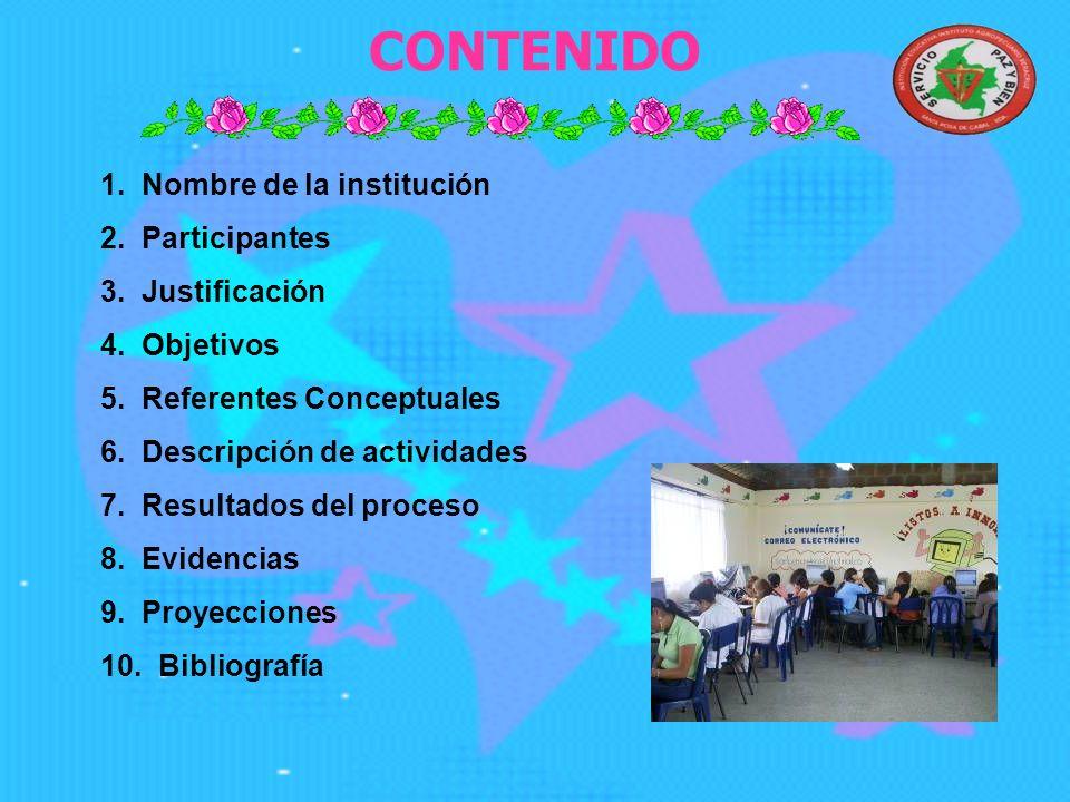 1.Nombre de la institución 2. Participantes 3. Justificación 4.
