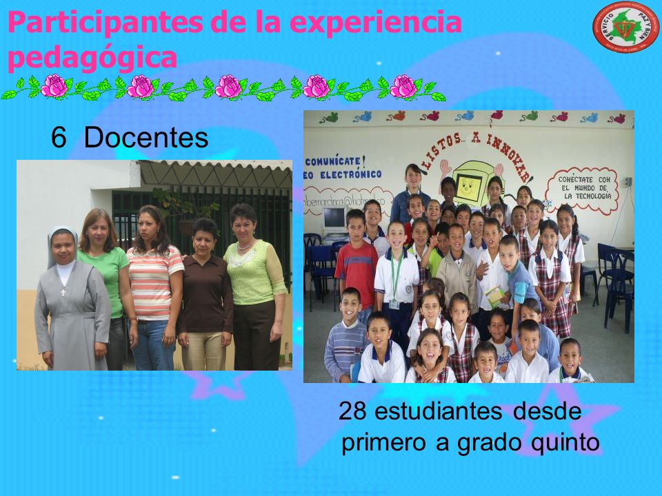 Participantes de la experiencia pedagógica 28 estudiantes desde primero a grado quinto 6 Docentes