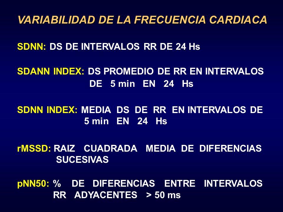 VARIABILIDAD DE LA FRECUENCIA CARDIACA SDNN: DS DE INTERVALOS RR DE 24 Hs SDANN INDEX: DS PROMEDIO DE RR EN INTERVALOS DE 5 min EN 24 Hs SDNN INDEX: M
