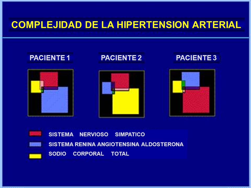 COMPLEJIDAD DE LA HIPERTENSION ARTERIAL PACIENTE 1PACIENTE 2PACIENTE 3 SISTEMA NERVIOSO SIMPATICO SISTEMA RENINA ANGIOTENSINA ALDOSTERONA SODIO CORPOR